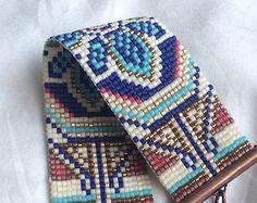 Wide bead woven bracelet seed bead bracelet by Anabel27shop