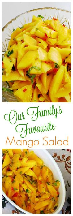 Our family loves this Mango Salad. It's been a fixture of our family get-togethers since I was a little girl. It's vegan, easy and perfect for hot sunny days. It's best made the day before so the flavours can mingle. o