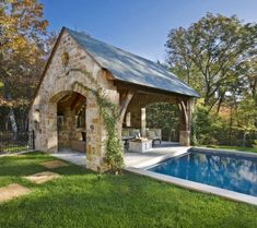 Amazing Backyard Pool Cabanas - And Cabana Pool House Ideas Pool House Piscine, Outdoor Rooms, Outdoor Living, Outdoor Kitchens, Outdoor Photos, Outdoor Furniture, Pool House Designs, Pool Cabana, Backyard Cabana