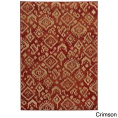 Style Haven Tribal Ikat Rug (6'7 x 9'6) (Crimson), Red (Olefin, Abstract)