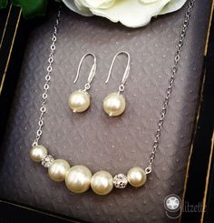 Bridesmaid jewelry set Bridesmaid gift Wedding by Glitzette, $34.00