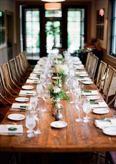 Elegant Rustic Harvest Table | If you're looking for a perfect rustic wedding setting, use a bare wooden table.