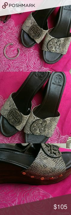 """Beautiful Tory Burch """"Patti"""" Snake skin wedges Authentic Tory Burch """"Patti""""wedge slides with snakeskin leather. Very comfortable approx 3""""wedge stacked heel. Removed a little dust from sitting in my closet, but have never been worn, only in store when trying on. These are comfy, and look great with shorts, jeans, black pants or skirts. Must have shoes for summer! Tory Burch Shoes Wedges"""
