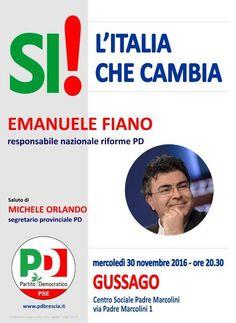 """Mercoledì 30 novembre incontro """"SI! l'Italia che cambia"""" - http://www.gussagonews.it/incontro-si-italia-che-cambia-novembre-2016/"""