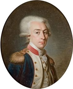 Marquis de Lafayette (1757-1834) wearing a powdered wig tied in a queue that was a common piece of men´s dress by c. 1795.
