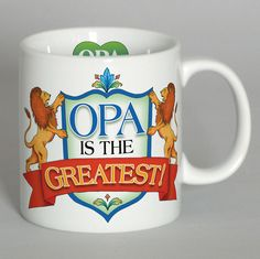 """Opa Greatest 3 Graphic Mug. A great gift for Opa featuring multiple pieces of artwork around the mug as well as small pieces of artwork on the handle (""""I Love Opa"""") and the inside of the mug (Opa Artw"""