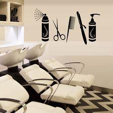 Wall Decal Stylist Hair Salon Beauty Scissors Curling Spray Comb Barber M1162