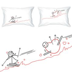 Skiers pillow cases