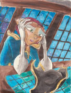 """Farewell Old Friend by CaptainFeline.deviantart.com on @deviantART - Captain Amelia from """"Treasure Planet"""" after Mr. Arrow's death. This is more a """"behind the scenes"""" picture, but what you do see in the film...such a character defining moment!"""