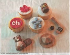 Canada Day cupcakes!  Featuring a beaver, eh, maple leaf, Tim Horton's coffee, a hockey stick & puck, a mountie hat and an inukshuk.