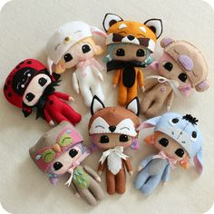 https://flic.kr/p/ei6s3D | sweetlings | top:  lady bird, lamb, red panda, monkey. bottom:  owl, fox and eeyore