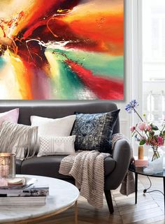 Very large abstract painting by Dan Bunea: because you by danbunea