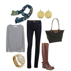 an outfit for italy in the fall: hammered gold earrings, floral scarf, nautical striped shirt, dark skinny jeans, brown riding boots, gold marc jacobs watch, black longchamp tote