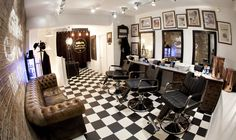 Barber shop with, Black and white floor tiles