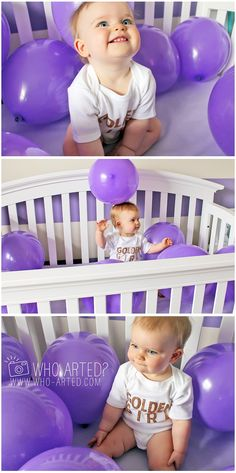 First Birthday Photo Idea. Balloons in the crib on the morning of their birthday. Love it!