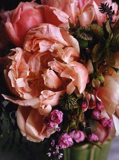 Peach and pink peonies: #flowers #pink: http://nicolettecamille.com/