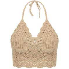 Yoins Beige Bralet Top With Crochet Trim ($13) ❤ liked on Polyvore featuring tops, shirts, crop tops, tank tops, beige, bralette tops, summer tops, evening tops, beige top and bralette crop top