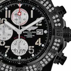 PVD Watch Breitling Super Avenger A13370 2 ct Diamonds Bezel Authentic BLACK Breitling. $6500.00. 2ct Diamond Bezel