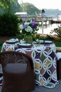 Lilacs and White Hydrangeas on a quilt