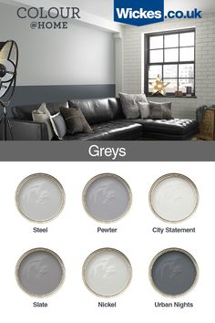 This grey colour palette is bang on trend. It can be used to create a feature space or give a whole room a lift. Living Room Decor Colors Grey, Living Room Color Schemes, Living Room Paint, Living Room Grey, Living Room Designs, Colour Schemes Grey, Grey Living Room Ideas Colour Palettes, Hallway Colour Schemes, Grey Home Decor