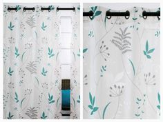 """Let the right amount of light shine in with Blossom curtains available in teal blue/grey, purple/grey or chartreuse/brown.  Grommet top curtains feature a burnout and leaf print on sheer fabric.  100-percent polyester.  Set includes 2 curtains.  Each panel is 52""""x95"""" inches.  Dry cleaning recommended."""