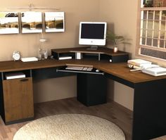 Amazing Bestar Hampton Corner Computer Desk Tuscany Brown Black Within  Measurements 3200 X 3200 Home Office Corner Computer Desk   A Black Glass  Computer D