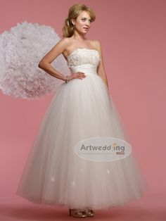 Strapless Ankle Length Ball Gown