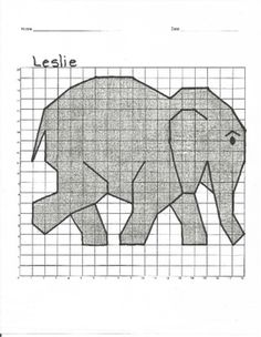 Who doesn't love an elephant? Graph Paper Art, Geometric Drawing, Fifth Grade Math, Math Projects, Kindergarten Crafts, Pictures To Draw, Art For Kids, Crafts For Kids, Elephant