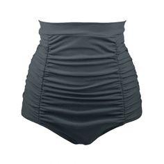 Retro High Waisted Bikini Bottom - Gray 2xl Mobile