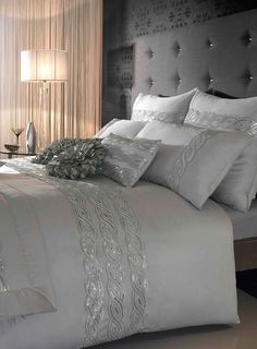 Silver Kylie At Home Sequins Wave Bedding