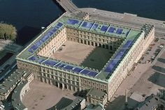 STOCKHOLM_The Royal Palace from above, with solar panels on the roof.