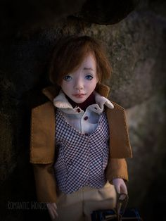 Oliver was sculpted of polymer clay with strong steel armature inside. All clothes (two sets) were sewed by the hand of cotton,linen and silk fabrics, shoes were sewed of real leather, hair was made of mohair. Oliver Twist, Silk Fabric, Handmade Art, Cotton Linen, Real Leather, Art Dolls, Romantic, Sewing, Clothes