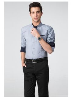 d9935ad7a93 2016 Solid Dress Shirts For Men Classical Plus Size 100% Cotton Turn Down  Collar Long Sleeves Bussiness Shirt Wholesale C 52 From Notwo