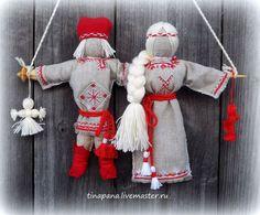 """Народные куклы ручной работы. Ярмарка Мастеров - ручная работа. Купить """"Неразлучники"""" с вышивкой. Handmade. Ярко-красный, подарок, лён"""