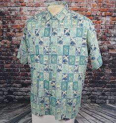 75a3c8f2 Tori Richard Hawaiian Aloha Shirt Tiki Hut Palm Block Mens L Large USA Made  vtg