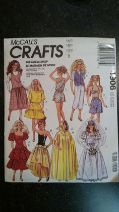 "Tree Topper Pattern McCall/'s 4335 11½"" Fashion Doll Angel Clothes Reduced!"