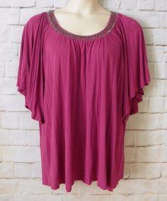 Womens Plus DESIGN HISTORY Purple Embellished Neckline Dolman Sleeve Top SZ 2X #DesignHistory #KnitTop #CareerCasual