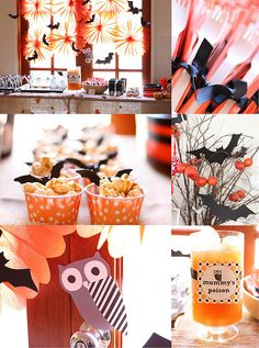 Halloween decor.. I especially like the top left decorations above the table. Bats and orange round fans. Cute!