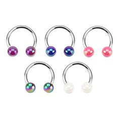 FAUX PEARL BALL CURVED CIRCULAR BARBELL HORSESHOE LIP NOSE RING SEPTUM | eBay