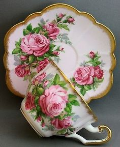 Handpainted Bouquet Gold Pedestal Rare Handle Shafford Tea Cup and Saucer Set •…