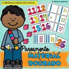 Pareamento Material Dourado   Educação Infantil 3 D, Comics, Fictional Characters, Kids Math, Literacy Activities, Game Ideas, Letters, Cartoons, Fantasy Characters