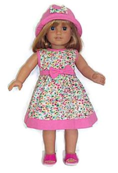 "Pink Print Dress & Hat made for 18"" American Girl Doll Clothes #DorisDollBoutique #DollClothes"
