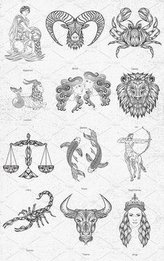 Zodiac Signs Vintage Illustrations by Prosymbols on Creative Market – leo constellation tattoo Gemini Art, Sagittarius Sign, Zodiac Signs Virgo, Zodiac Sign Tattoos, Zodiac Art, Virgo Tattoos, Cancer Tattoos, Zodiac Signs Symbols, Signo Virgo