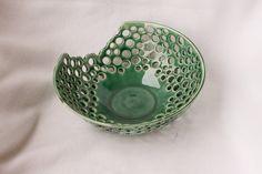 Green porcelain fruit bowl decorative green bowl ceramic bowl pottery bowl handmade pottery home decor by RjsPots on Etsy