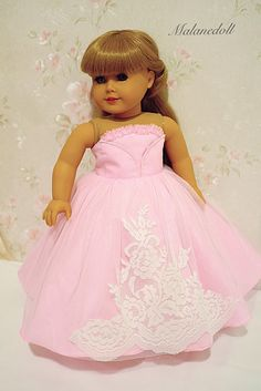 Princess dress (pink) made to fit like American girl doll clothes, 18 Inches doll ball gown American Girl Outfits, American Girl Doll Costumes, American Girl Hairstyles, American Girl Doll Room, American Girl Doll Pictures, American Doll Clothes, Girl Doll Clothes, Girl Dolls, Ag Dolls