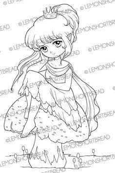 Digital Stamp Toadstool Princess Fairy Digi by lemonshortbread