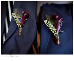 How to: Peacock Boutonnieres @Laura Kveene -You should have a peacock wedding! :)