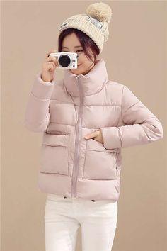 d097b77e1061 2016 Autumn Parka Women Cotton Padded Fashion Ultra Light Basic Jackets  Sweet Style