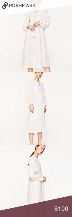 NWOT Zara White Embroidered MIDI Dress S BOHO SZ SMALL zara Dresses Midi