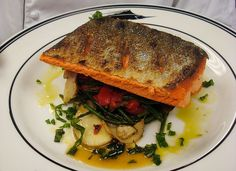 MmmHmm... Pan-Seared Copper River Sockeye with Porcini Mushrooms, Red Bell Peppers & Sea Beans #recipe